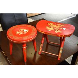 Two small stools both with childlike decoration including one that folds