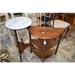 Two semi contemporary occasional tables including a three tier flat to the wall and a tri leg marble