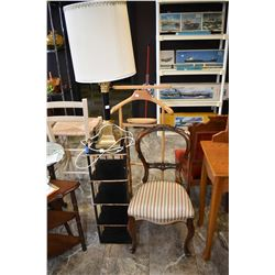 Antique balloon back chair note distress at lower back, gentleman's maple valet, five tier stand and