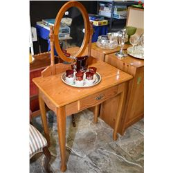 Simulated oak single drawer mirrored dressing table