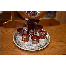 Silver-plate drinks tray and drinks pitcher, six matching glasses with ruby flash etched to clear pr