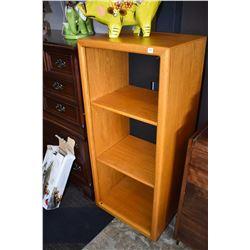 Semi contemporary oak entertainment unit missing door used as display shelf