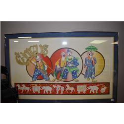 "Framed original multimedia art work titled ""Circus"" signed by artist M. Eastley ' 81"