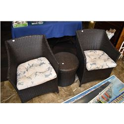 Three piece patio set including two chairs and a table