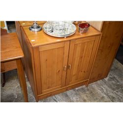Pair of modern two door credenza with two interior shelves