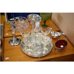 Selection of collectibles including silver-plate tray with galley, etched stemware, art glass decant