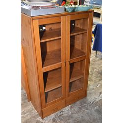 Modern two door display / book cabinet with two glass panelled doors