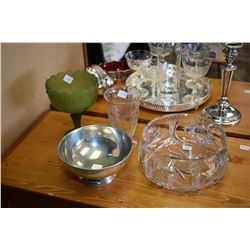 Crystal center bowl, satin glass compote, pewter bowl and crystal vase
