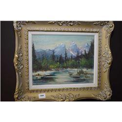 Framed oil on board of a mountain creek signed Lyon