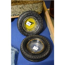 Two Goodyear tire motif ashtrays one with original Goodyear glass liner and one with original Golden