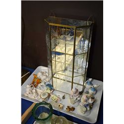 Wall mount brass and glass miniatures display cabinet and a selection of cabinet pieces including te
