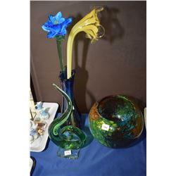 Three pieces of art glass including large center bowl, vase with glass flowers, etc