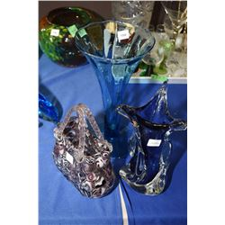 Three pieces of art glass including a trumpet vase, basket and chalet style vase