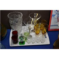 Large selection of stemware, assorted patterns and styles and an etched crystal vase