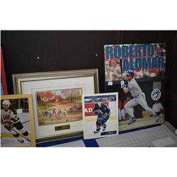 Selection of sports pictures including one signed by hall of famer Lanny McDonald