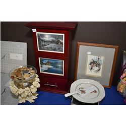 Small single drawer single door storage cabinet, a crackle glass bowl in floral galley containing po