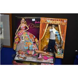 Selection of Barbies and a Justin Timberlake NSync figure in box