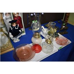 Two pressed glass oil lamps, selection of pink glass, four Royal Worcester egg coddlers, mortar and