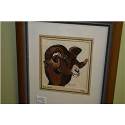 """two framed paintings """"Big Horn"""" and """"Prong Horn"""" signed by artist A. Cowen"""