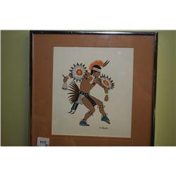 "Framed pastel native Canadian girl signed by Gerda Christopherson and an original artwork ""War Dance"
