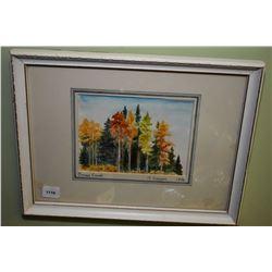 "Framed watercolour ""Bragg creek"" by artist A Cowen"