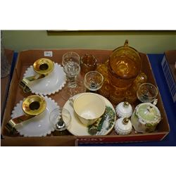 Two trays of collectibles including candle holder, vases, hand painted plates, etc