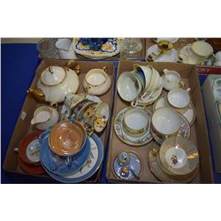 Two trays of collectibles including several china cups and saucers, teapot, etc