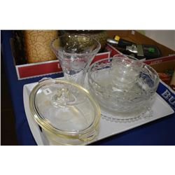 Lidded pyrex dish, etch crystal vase and bowl, candlewick snack plate, etc