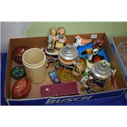 Selection of collectibles including steins, community plate coffee spoons, cloisonn', etc