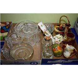 Two trays of collectibles including crystal comport, silver overlay bowl, candlesticks, enamelled Mo