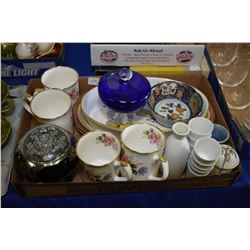 Two trays of collectibles including silver overlay posey bowl, royal Worcester Evesham dish, sake cu