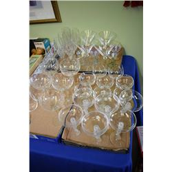 Large selection of assorted styles, brands, shapes of stemware including those with figural stems, e