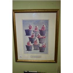 Three framed prints including Anne Geddes