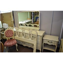 Bedroom suite including large mirrored dresser, headboard and single drawer night table made by Malc