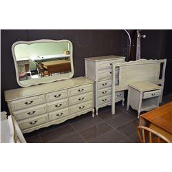 Bedroom suite including large mirrored dresser, five drawer highboy, headboard and single drawer nig