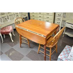 Canadiana drop leaf dinette table and two spindle back chairs