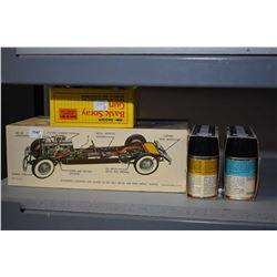 Unassembled Hubley Metal model SJ Duesenberg Town Car and a Badger basic spray gun set plus two Test