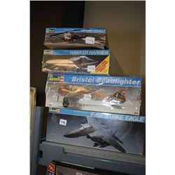 Four unassembled plastic model aircraft kits including McDonell Douglas F-15E Strike Eagle, Bristol