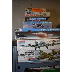Seven unassembled plastic aircraft model kits including B-24D Liberator, B-17G Flying Fortress, F-89