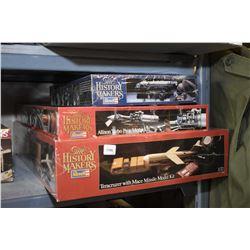 Three unassembled plastic model kits including Teracruzer Mace Missle model kit, Allison Turbo Crop