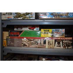 Six unassambled plastic model kits including Peterbilt 359 Prestige Automovers Tow truck, Kenworth C