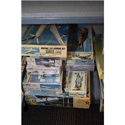 Ten unassembled model kits including Apollo Saturn V Rocket, Boeing 747 Lufthansa, Super DC-8 Africa