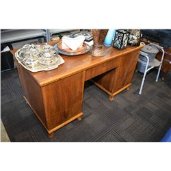 Vintage mahogany double pedestal desk, one side with fitted drawers, one side with shelf, includes o