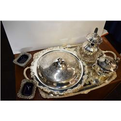 Selection of silver-plate including large handled tray and serving pieces