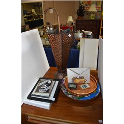 Selection of collectibles including glazed pottery charger, brass coloured tray with galley, envelop