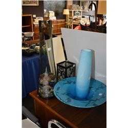Selection of collectibles including luminere candle holder, blue art glass vase and center bowl and