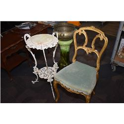 Cast iron two tier stand with marble inset top and a antique gilt framed side chair