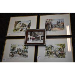 Five assorted framed prints, four of Paris
