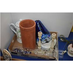 Selection of collectibles including glass bud holder, clay wine holder, candlesticks etc.
