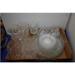 Large selection of pressed glass including vases, plates etc.